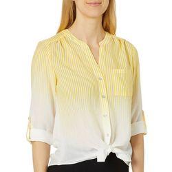 Zac & Rachel Petite Ombre Striped Button Down Tie Front Top