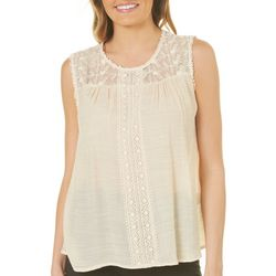 Zac & Rachel Petite Lace Yoke Sleeveless Top