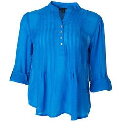 Petite Solid Button Placket Top
