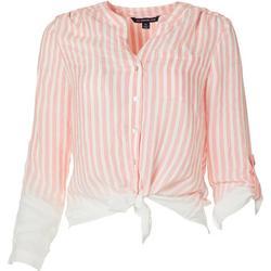 Petite Faded Stripe Button Down Tie Front Top