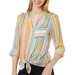 Petite Striped Tie Front Long Sleeve Top