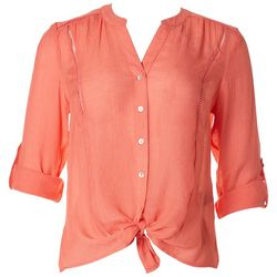 Zac & Rachel Petite Solid Button Down Split Neck Top