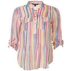 Petite Striped Button Top