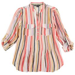 Petite Striped Tie Front Long Sleeve