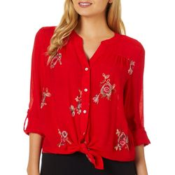 Zac & Rachel Petite Floral Embroidered Roll Tab Sleeve Top