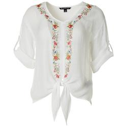 Petite Floral Embroidered Tie Front Top