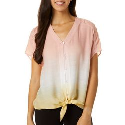 Zac & Rachel Petite Ombre Button Down Tie Front Top
