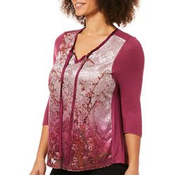 Latitude 10 Petite Velvet Cherry Blossom & Bird Top
