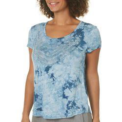 Latitude 10 Petite Embellished Tie Dye Print Top
