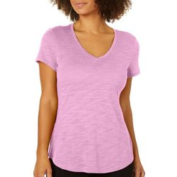 Dept 222 Petite V-Neck Solid T-Shirt