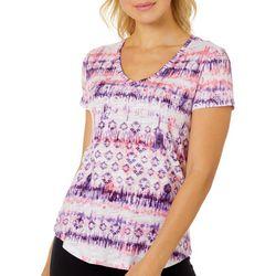 Dept 222 Petite Tie Dye Geo Stripe Print V-Neck T-Shirt