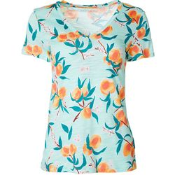 Dept 222 Petite Peach Blossom Print V-Neck T-Shirt
