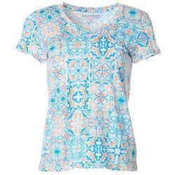 Dept 222 Petite Mosaic V-Neck T-Shirt