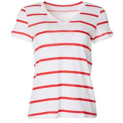 Dept 222 Petite Wide Stripe V-Neck T-Shirt