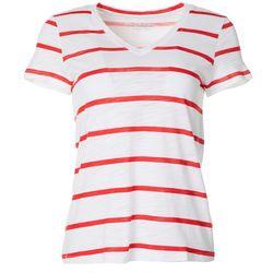 Petite Wide Stripe V-Neck T-Shirt