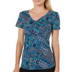 Dept 222 Petites Floral Patchwork Print V-Neck T-Shirt