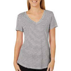Dept 222 Petite Striped V-Neck Short Sleeve Top