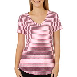 Dept 222 Petite Striped V-Neck Short Sleeve Top