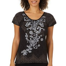 Vanilla Sugar Petite Embellished Floral Faux Lace Top