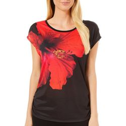 Vanilla Sugar Petite Embellished Hibiscus Ruched Top