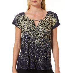 VS Collection Petite Foil Embellished Leopard Keyhole Top