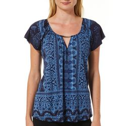 VS Collection Petite Jasmine Mixed Print Keyhole Top