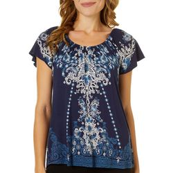 VS Collection Petite Jina Floral Paisler Peasant Top