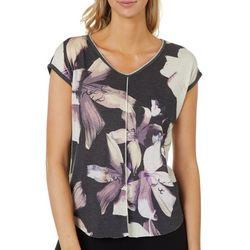 VS Collection Petite Floral Print Split Back Top