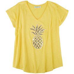 Kiwi Fresh Petite Sequin Pineapple T-Shirt