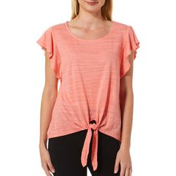 Allie & Rob Petite Solid Ruffle Sleeve Tie Front Top