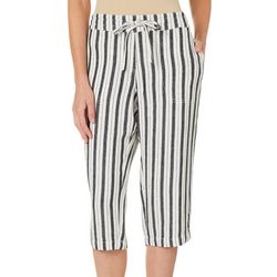Per Se Petite Stripe Print Linen Drawstring Capris