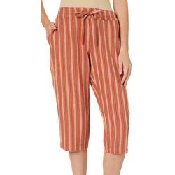 Per Se Petite Stripe Print Linen Pull On