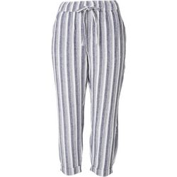 Per Se Petite Striped Linen Cropped Pants