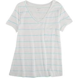 Dept 222 Petite Luxery striped V-Neck T-Shirt