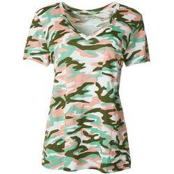 Dept 222 Petite Camo V-Neck Pocket T-Shirt