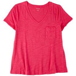 Dept 222 Petite Solid Color With Pocket V-Neck T-Shirt