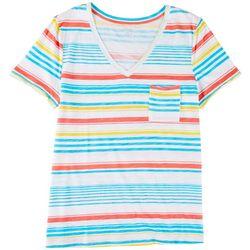Dept 222 Petite Single Chest Pocket Summer Stripes Top