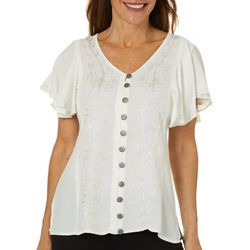 Studio West Petite Embroidered Floral Crepe Top