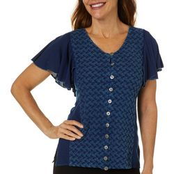 Studio West Petite Embroidered Leaves Denim Top