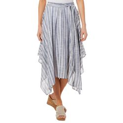 Studio West Petite Striped Tie Waist Handkerchief Hem Skirt
