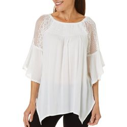 Studio West Petites Solid Crochet Detail Top