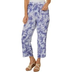 Studio West Petite Tie Dye Embroidered Pull On Capris