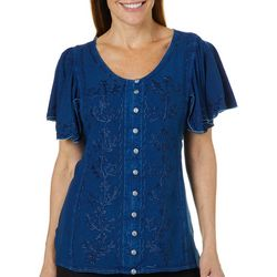 Studio West Petite Embroidered Floral Denim Top
