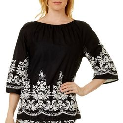 Studio West Petite Solid Floral Embroidered Bell Sleeve Top