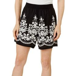 Studio West Petite Solid Floral Embroidered Pull On Shorts