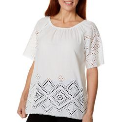 Studio West Petite Short Sleeve Off the Shoulder Eyelet Top