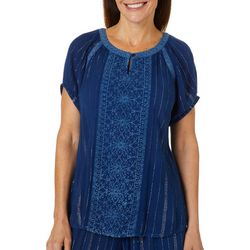 Studio West Petite Embroidered Lurex Eyelet Top