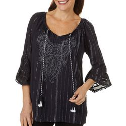Studio West Petite Metallic Stripe Crochet Bell Sleeve Top