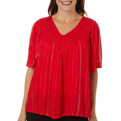 Studio West Petite Embellished Solid Short Sleeve Top