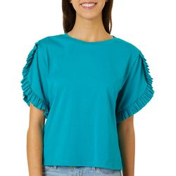 L.N.V. Petite Solid Ruffle Short Sleeve Top